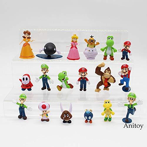 Yvonnezhang Super Mario Bros Wii Super Mario Welt Prinzessin Peach Daisy Yoshi Luigi Bowser Action-Figuren Party Spielzeug Puppen 18 Teile / Satz KT3863 (Luigi Und Prinzessin Peach)