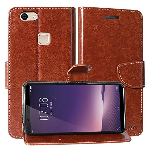 FancyArt Inner TPU and Leather Card Slot Flip Cover with Wallet with Stand for Vivo Y83 (Unique Brown)