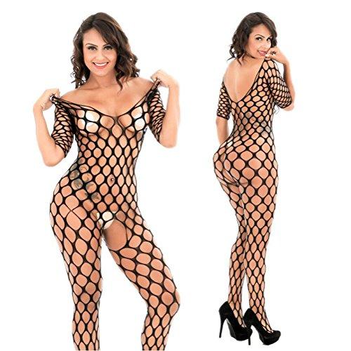 Öffnen Büste Bodystocking (QWXTXN Damen Bodystocking Bodysuit mit Kurzen Ärmeln Sexy Silk Stocking Damen öffnen Büste Ouvert Strumpfhosen, Schwarz, Einheitsgröße)