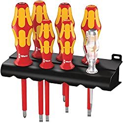 Wera 160 i/165 i/7 Rack Schraubendrehersatz Kraftform Plus Serie 100 + Spannungsprüfer + Rack, 7-teilig, 05006148001