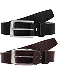 Krystle Boy's PU Leather Belts Set of 2 Combo Pack (Black & Brown)