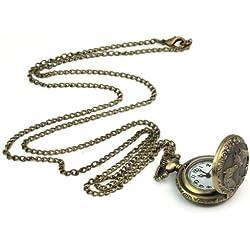 Vintage Copper Bronze 3 Horse Engrave Quartz Pocket Watch Pendant Chain Necklace