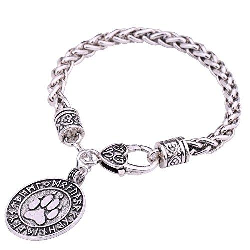 VASSAGO Vintage Talisman Norse Viking Runes Bear Paw Wolf Claw Pendant Animal Bracelet for Men Women