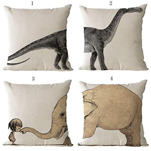 Ogquaton Elefante Dinosaurio Decoraciones Fundas de Almohada de Lino Fundas de cojín para el hogar Sofá Sofá 18x18 Pulgadas / 45x45 CM - 4 Piezas Conjunto