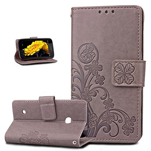 ikasus Coque Nokia Lumia 530 Etui Gaufrage Trèfle Fleur Motif Housse Cuir PU Housse Etui Coque Portefeuille Protection supporter Flip Case Etui Housse Coque pour Nokia Lumia 530,Gris