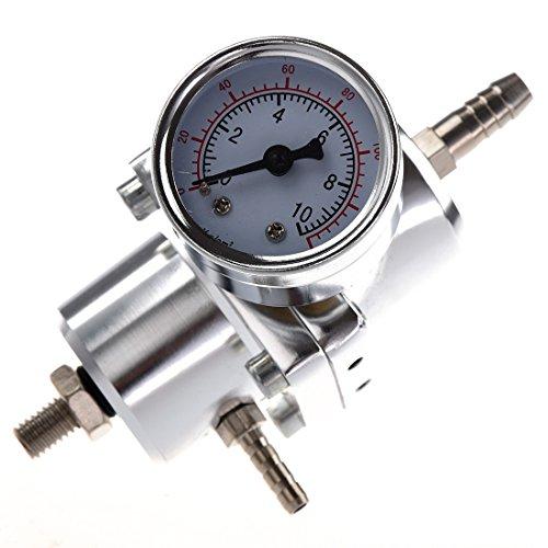 SODIAL (R) Universal Auto Einstellbarer Benzindruckregler mit Manometer Silber