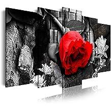 DekoArte Cuadro Moderno de 5 Piezas con Diseño Naturaleza Flor, Tela, Rojo y Rosa, 150x3x80 cm