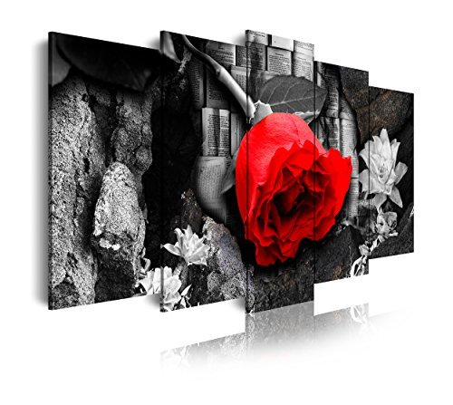 DEKOARTE 264 - Cuadro Moderno en Lienzo 5 Piezas Flores Rosa roja en Fondo Blanco y Negro, 150x3x80cm