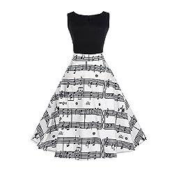 SEWORLD Elegant Kleid Damen Heißer Einzigartiges Design Mode Frauen Elegant Abendkleid Vintage Bedrucktes Musical Drucken Ärmelloses Kleid(Weiß,34-36 DE/M CN)