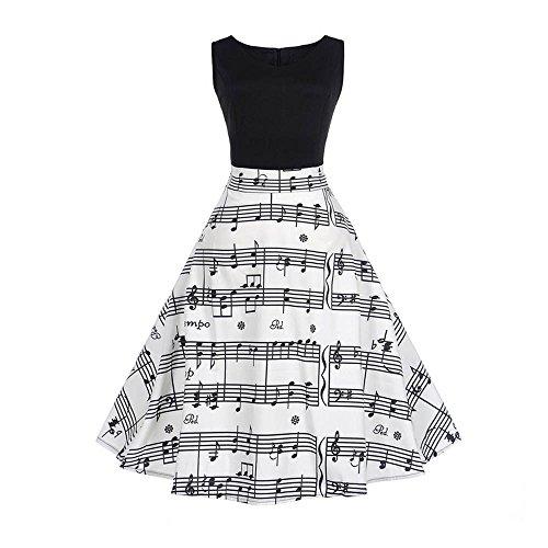 SEWORLD Elegant Kleid Damen Heißer Einzigartiges Design Mode Frauen Elegant Abendkleid Vintage Bedrucktes Musical Drucken Ärmelloses Kleid(Weiß,38-40 DE/XL CN)