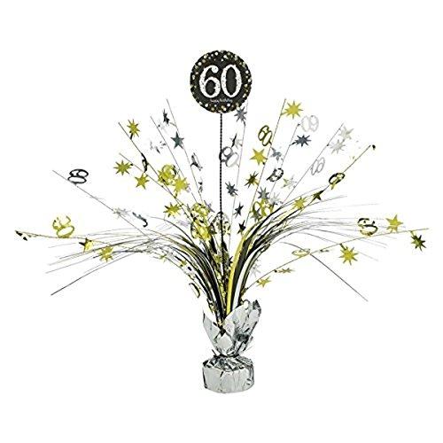 (Tischdekoration, Tischkaskade zum 60 Geburtstag; Kaskade 46cm gold schwarz silber Glitter Dekoration Kaskade 60 Happy Birthday)