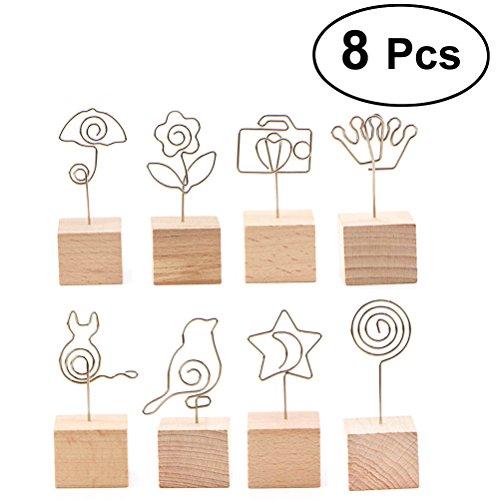 YEAHIBABY Memo Clip Halter Ständer Kreative Holztisch Nummer Halter Draht Foto Nachricht Hinweis Clip Menü Clip, 8ST