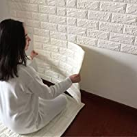 Indexp 3D DIY PE Foam Tile Brick Stone Wallpaper Embossed Noise Reduction Wall Decoration (23.6x23.6in, White)