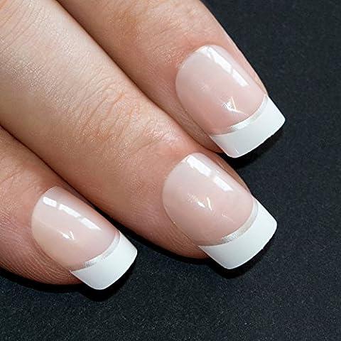 Bling Art False Nails Französisch Maniküre Weiß Manicurette 24 Medium Tipps UK (Weihnachten Acryl Nail Art)