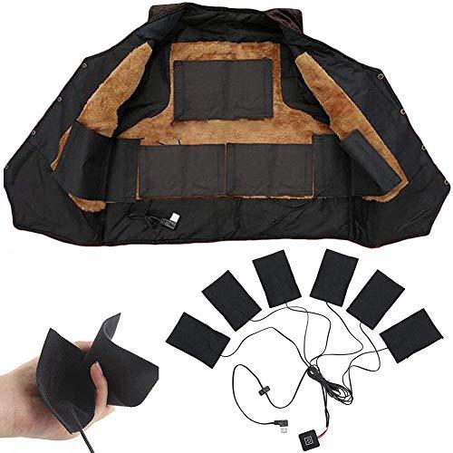 Cuscinetto riscaldante 6 in 1 per vestiti, lavabile usb elettrico in fibra di carbonio cuscinetto riscaldante regolabile abbigliamento termico giubbotto riscaldato giacca per esterno invernale