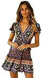 SEMIR Mujeres Sexy Cuello en V Boho Estampado Floral Mini Vestido Casual Vintage Summer Beach Wrap Sash Vestido de Fiesta de Noche Corta Marin L