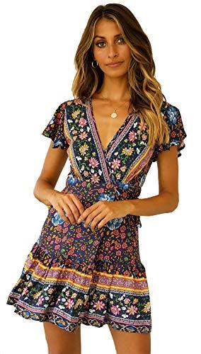 Damen Vintage Kleider Boho Sommerkleid V-Ausschnitt A-Linie Minikleid Swing Strandkleid mit Gürtel Marine M (Max Kleidung)