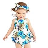 Trada 2 Stücke Kleidung Set Kleinkind Kinder, Sommer Baby Spielanzug Mädchen Blumendruck Rüschen Overall Ausstattungs Sling Rüschenkleid + Haarband Zweiteilige Set (70, Weiß)