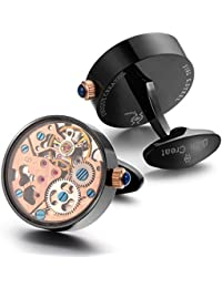 Dich Creat Men's Rose Gold Plated Mechanical Working Movement Cufflinks Covered with Glass