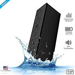 ZAAP(USA) AQUA DARKSTAR Waterproof/Shockproof Bluetooth Wireless speaker With Built-In Microphone, 15 Hours Playtime/33-Foot Bluetooth Range/3D Bass,10-Watts/Award winning IPX-4 Design for Shower/Outdoor/Desktop & Sports (Black)