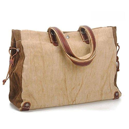 Europa und die Vereinigten Staaten Männer und Frauen Casual Baumwolle und Flachs Retro Tasche Rucksack tragbar Khaki