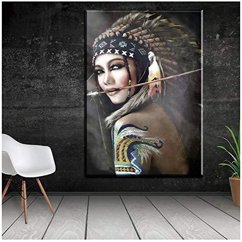 Indische Leinwand Kunst (Juabc Porträt Leinwand Kunst Wandbilder Für Wohnzimmer Indische Frau Gefiederten Stolz Malerei Wohnkultur Gedruckt Kein Rahmen 60X80 cm)