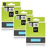 Labelwell 3 Rollen 12mmx 7m Kompatibel DYMO D1 band 45013 S0720530 Schwarz auf weiß Schriftband Etiketten für Dymo LabelManager 160 280 260P 360D 500TS LabelWriter 450 DUO Beschriftungsgerät