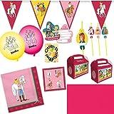 HHO Bibi und Tina Deko-Set 50tlg. für 6 Kinder : Servietten Einladung Geschenkboxen Tischdecke Luftballons Wimpelkette Trinkhalme