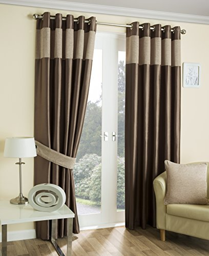 luxury-hilton-chenille-panelled-faux-silk-eyelet-ring-top-ready-made-curtains-natural-64-x-90