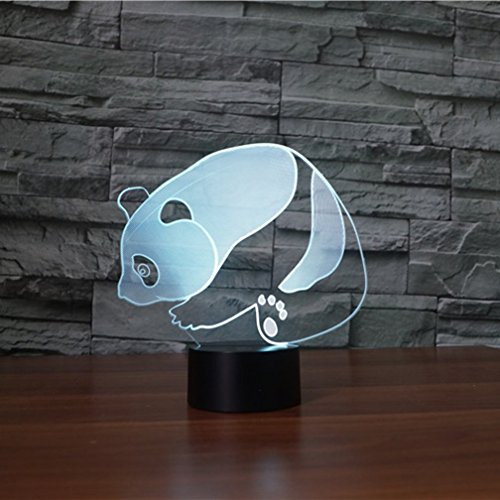 3D ilusión lámpara novedad óptica llevó la luz 7 colores cambio panda luz táctil interruptor mesa escritorio lámparas para niños dormitorio regalos de cumpleaños