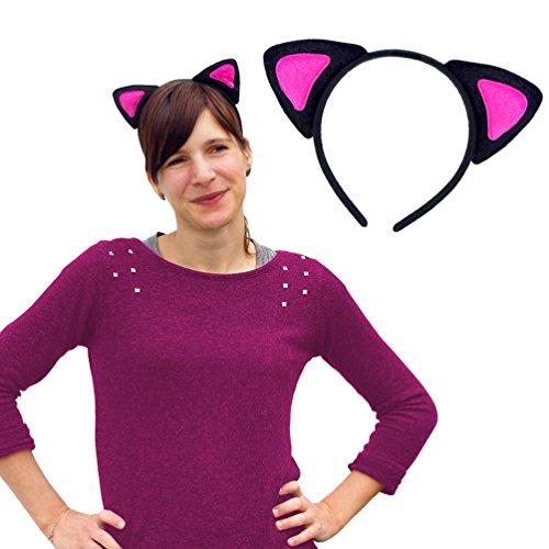 Schwarz Und Katze Pink Kostüm - Oblique Unique® Haarreifen Katzenohren in Pink Schwarz Katze Kostüm Fasching Karneval Party