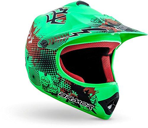 """ARMOR · AKC-49 """"Limited Green"""" (Grün) · Kinder-Cross Helm · Enduro Moto-Cross Sport Kinder Off-Road Motorrad · DOT certified · Click-n-Secure™ Clip · Tragetasche · S (53-54cm)"""