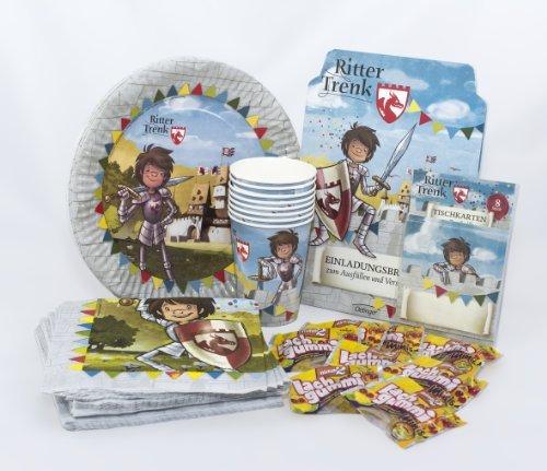 Preisvergleich Produktbild Ritter Trenk Geburtstagsset mit Einladungskarten, Tischkarten, Pappteller, Pappbecher, Servietten und Lachgummis / 72-teiliges Party Set für Kindergeburtstag