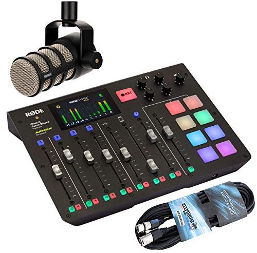 Rode Rodecaster Pro All-in-One Podcast Station + Podmic Podcast-Mikrofon + keepdrum 6m XLR Kabel