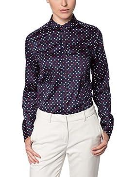 eterna Damen Bluse Comfort Fit Langarm Marine Bedruckt mit Hemd-Kragen