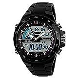 SunJas Orologi da Polso Sportivi 5ATM Impermeabile Uomo LCD Digital Cronometro Cronografo Data dell'Allarme Casual Wrist Watch 2 Time Zone