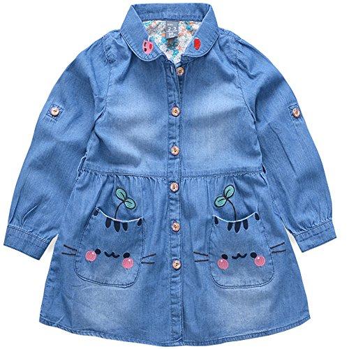 ragazza del vestito carino principessa estate della neonata a maniche lunghe camicia di jeans intrattenimento (Ragazze Lungo Pannello Esterno Del Denim)