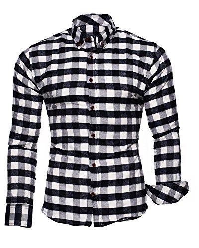 Kayhan Camicie Uomo Slim Fit Maniche Lunghe di ferro se necesario -Modello Chicago White