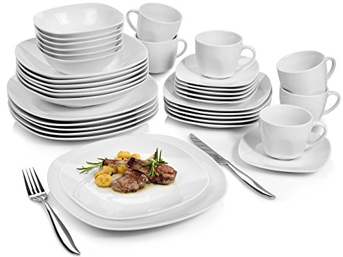 Sänger Geschirrservice 'Bilgola' aus Porzellan 36 teilig | Geschirrset beinhaltet Speise-, Suppen-, Dessertteller, Tassen (175 ml), passende Untersetzer sowie Schalen | Komplettservice für 6 Personen