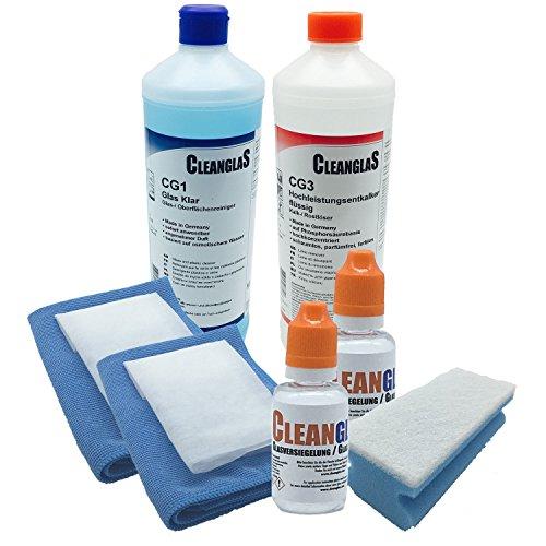 CleanglaS Nanoversiegelung (der Testsieger 2018), XXL Set für Dusche, Autoscheibe, Fensterscheiben, enormer Abperleffekt und Schutz gegen Kalk, für bis zu 48 m²