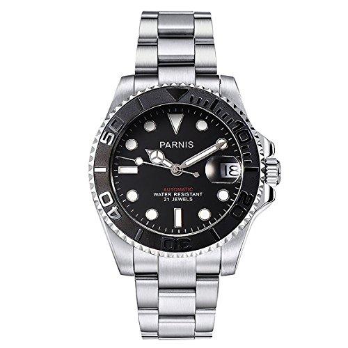 PARNIS 2164 Automatikuhr mit beidseitig drehbarer Keramiklünette MIYOTA Uhrwerk Herren-Armbanduhr mit Edelstahl-Gehäuse und Edelstahl-Armband Saphirglas