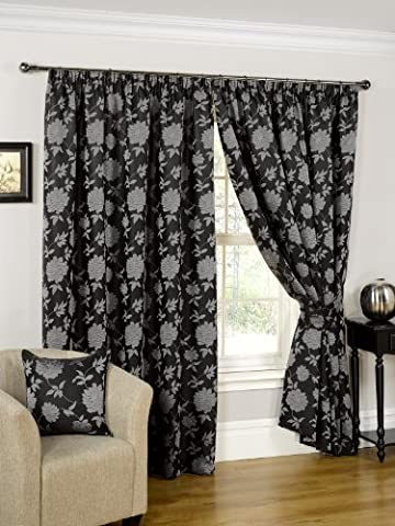 Ready Made Fully Lined Curtains Designer Black/Silver Tie Backs