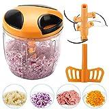 Adkwse Gemüseschneider ,Manuell Zwiebelschneider mit seilzug,Multi Zerkleinerer für Gemüse,Früchte,Fleisch