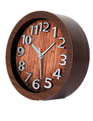 Ailiebhaus Despertador Retro Redondas Madera 3D Digital Reloj de Mesa Madera de Haya (Café)