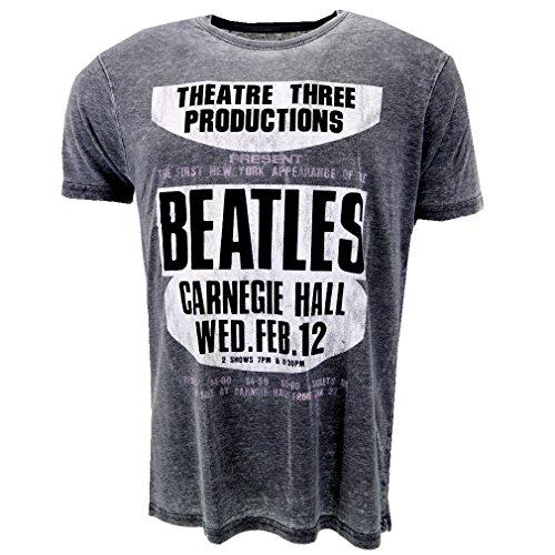 The Beatles Carnegie Hall grau Burnout T-shirt Offiziell Zugelassen Musik (Burnout Rock)