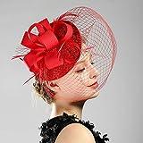 Weentop Fascinators Sombrero Sinamay Flor Malla Cintas Plumas Clip de la Venda Tea Party Headwear...