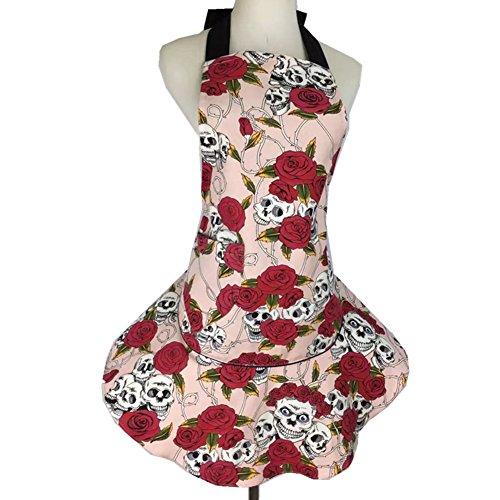 Para mujer rosa de calavera de flores delantal, diseño de lona de algodón falda halter Tie cocina cocinar Chef delantal con bolsillo, rosa