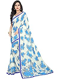 Jaanvi Fashion Women's Georgette Printed Saree (With_Lace)