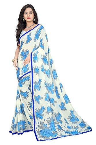 Jaanvi Fashion Women's Georgette Printed Saree (Blue)