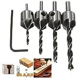 Pack de 4piezas acero HSS brocas flauta avellanador cónico fresa madera fresa carpintería tornillo taladro escariador herramienta